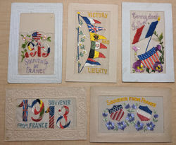 Lot of 5 WWI Patriotic Embroidered Silk Postcards Postcard