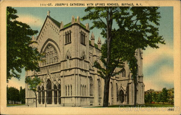 111:- St. Joseph's Cathedral with Spires Removed Buffalo New York