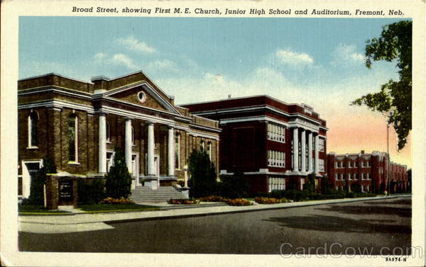 Broad Street, Showing First M. E. Church, Junior High School And Auditorium Fremont Nebraska
