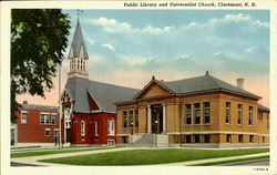 Public Library And Universalist Church Postcard