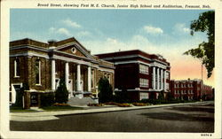Broad Street, Showing First M. E. Church, Junior High School And Auditorium