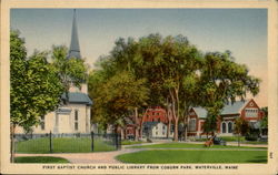 First Bapist Church And Public Library From Coburn