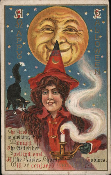 Happy Halloween The Clock Is Striking Midnight The Witch Her Spell Will Cast