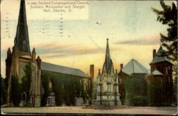 Second Congregational Church,Soldier Monument And Sturges Hall Postcard