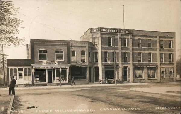 Wells & Howard Street - A.B. Graham Drugs, Croswell Hotel Michigan