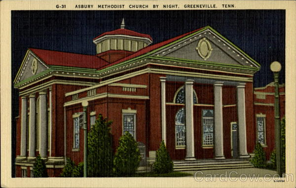 Asbury Methodist Church By Night Greeneville Tennessee