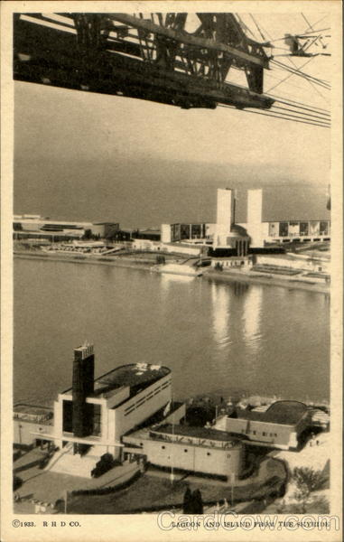 Lagoon And Island From Skyride 1933 Chicago World Fair