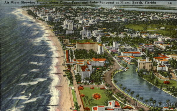 Air View Showing Hotel Along Ocean Front Miami Beach Florida