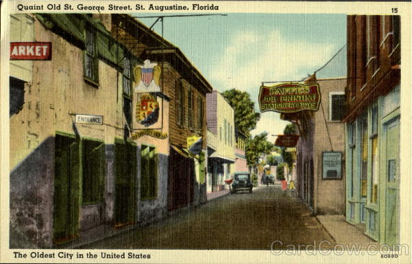 Quaint Old Street, George Street St. Augustine Florida