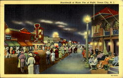 Boardwalk At Music Pier At Night Postcard