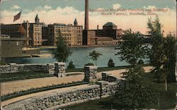 Entrance to Mt. Feake Cemetery and Waltham Watch Factory Postcard