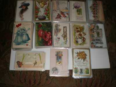 248 COLLECTIBLE POSTCARDS - TUCK'S OILETTES, CHRISTMAS, THANKSGIVING, ETC.