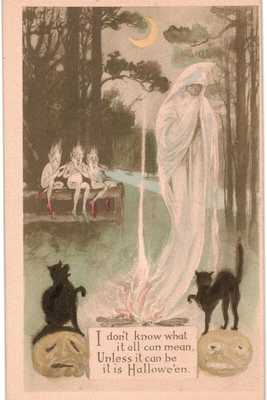 Halloween Smoke Ghost Goblins Cats Hand Colored Gibson Sepia Unused 1910