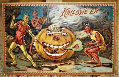 1908 TUCKS EMBOSSED HALLOWEEN POSTCARD / DEVILS SKELETON JACK O LANTERN