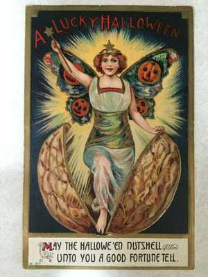 HALLOWEEN POSTCARD, SERIES B37, PUB BY I.S.L. Co. MAY THE HALLOWE'EN NUTSHELL