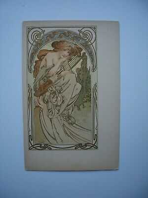 Antique Postcard by Alphonse Mucha « Soiree » Ref. Bowers & Martin p.95