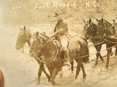 1924 RPPC CMTC CITIZENS MILITARY TRAINING CAMP FORT BRAGG NC HORSE DRAWN WAGON
