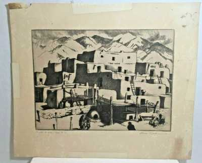 South House - Taos Pueblo [South House.] Gene Kloss Signed Etching 1941