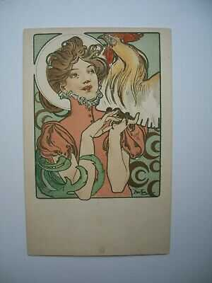 Antique Postcard by Alphonse Mucha «Cocorico Cover » Ref. Bowers & Martin p.85