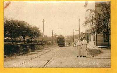 (5271) c1904 RPPC Railroad Postcard - Clay Ave, Mars, Pa. 2 Girls and Street Car