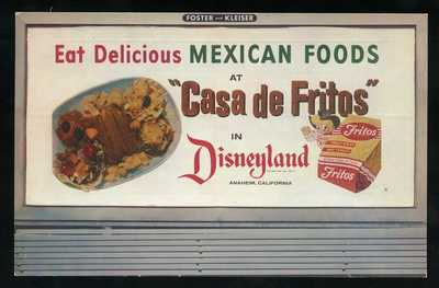 CASA DE FRITOS Advertising Postcard from DISNEYLAND Anaheim CALIFORNIA 1955