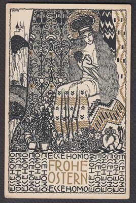 Franz Kuhn Wiener Werkstatte original postcard lithograph Madonna Easter 817