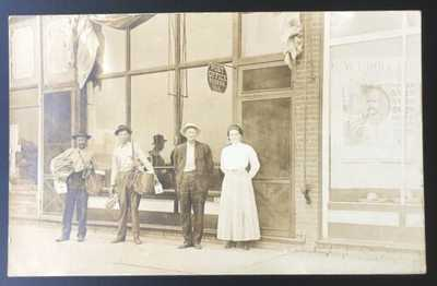 SUPERB RPPC Post Office Fisher, Illinois. Champaign County Mail Carriers.