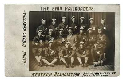 Baseball Real Photo Postcard 1908 of Enid Oklahoma Railroaders in Full Uniforms