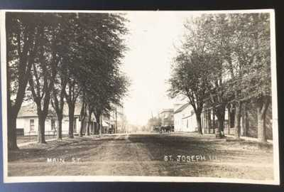 RPPC Main Street St. Joseph, Illinois Champaign County (Tree Lined Dirt Street)