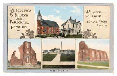 Multi-View St. Joseph's Church And Pasonage Pesotum Illinois Champaign County