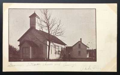 Lithograph Of German Lutheran Church/Parsonage Philo, Illinois. Champaign County