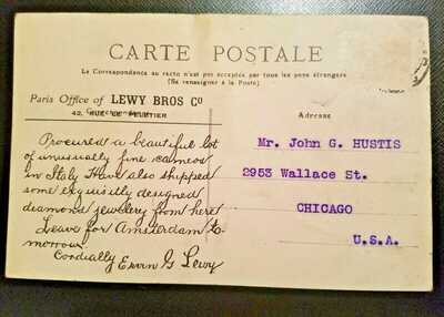 Titanic Victim Ervin G Lewy Postcard Posted to USA Tout Paris View No Stamp