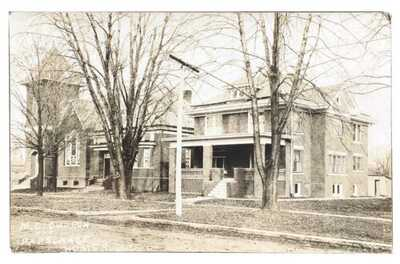 RPPC M.E. Church And Parsonage Homer, Illinois Champaign County Dirt Street