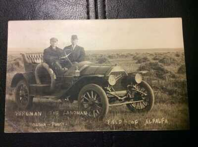 Jackson Automobile Williston, ND Bergman The Landman RPPC Real Photo Postcard