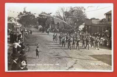RPPC 1910 Corn Carnival Parade In Mahomet, Illinois Champaign County