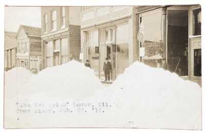 RPPC Snow 1914 Storm Business District Homer, Illinois Champaign County