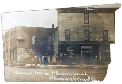 RPPC THE Corner Of Main & Commercial Street Thomasboro, Illinois. Selz Shoe Sign