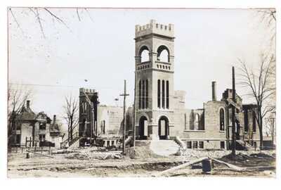 RPPC M.E. Church After The Fire Rantoul, Illinois Kankakee-Urbana Traction Sign