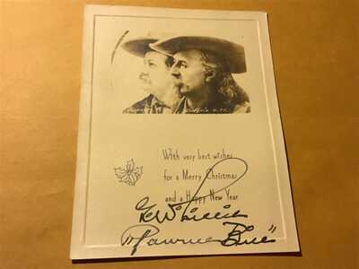 Autographed real photo Christmas card Pawnee Bill Lillie and Buffalo Bill Cody
