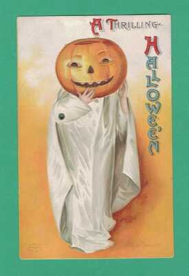 VINTAGE MECHANICAL ELLEN CLAPSADDLE HALLOWEEN POSTCARD GIRL-GHOST JOL-HEAD BOO!