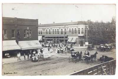 RPPC Street Fair With Undertaker&Baumeister Piano Advertising Rantoul, Illinois