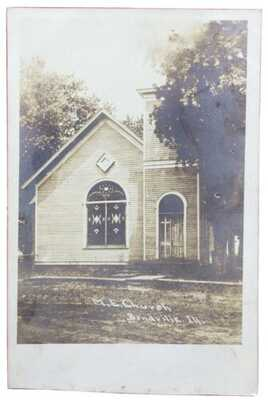 RPPC M.E. Church In Bondville, Illinois. Champaign County Arched Stained Glass