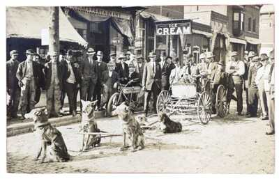RPPC Race Between A 5-Dog Wagon Team And An Indian Motorcycle In Homer, Illinois