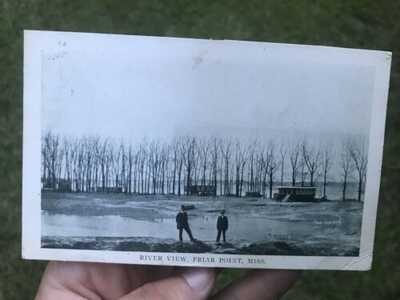 Antique 1914 RIVER VIEW - FRIARS POINT, MISS Mississippi Delta postcard