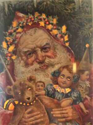 Lovely 1909 Hold to Light Santa Portrait with teddy bear doll puppet Germany