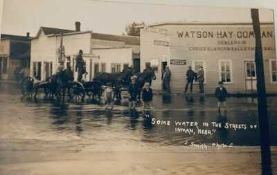 RPPC Some water in the streets of Inman, Nebraska