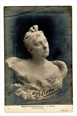 RPPC ~ Autographed by A. Rodin  ~ Tete de Femme ~ Musee du Luxembourg  A. Rodin