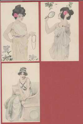 Old Postcard Set of 5 Pristine Unsigned Rome Style Raphael Kirchner Cards Girls