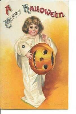 Halloween Mechanical Postcard Clapsaddle Young Girl Ghost With JOL Series #1236