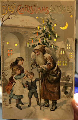 Santa Claus Christmas Hold To Light Full Length Postcard holiday 1of3